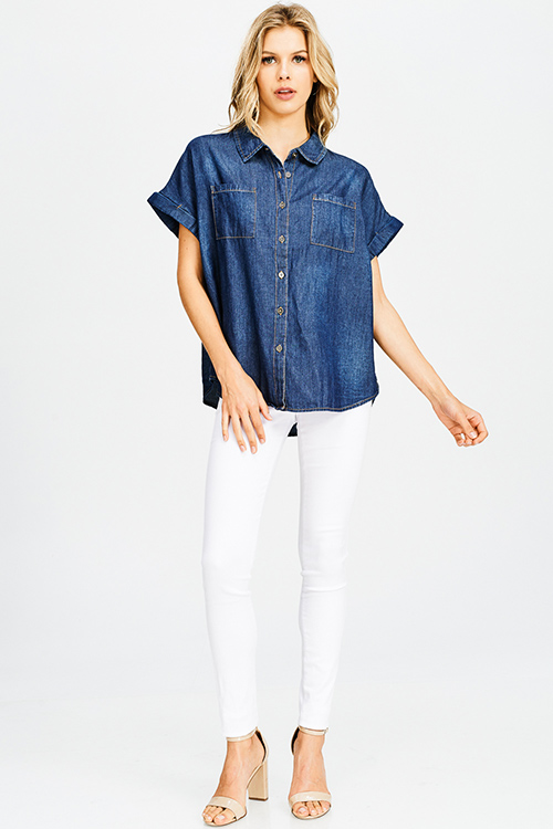 Cute cheap dark navy blue washed denim short sleeve button up boxy chambray blouse top