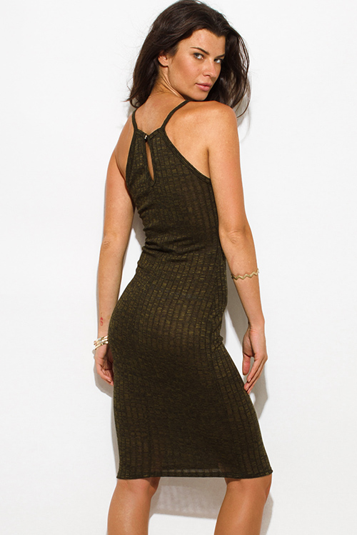 Cute cheap dark olive green ribbed knit halter spaghetti strap racer back fitted bodycon sweater midi dress
