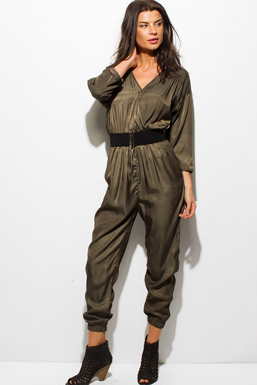 Cute cheap dark olive green satin long sleeve faux wrap belted pocketed harem jumpsuit