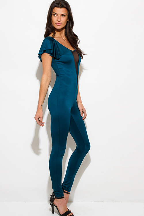 Cute cheap dark teal blue mesh inset flutter sleeve backless fitted bodycon party catsuit jumpsuit