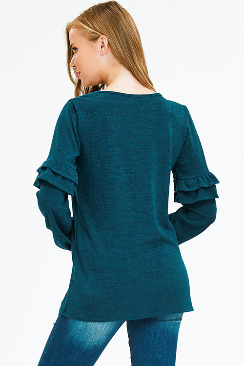 Cute cheap dark teal green fuzzy knit long sleeve ruffle trim tunic boho top