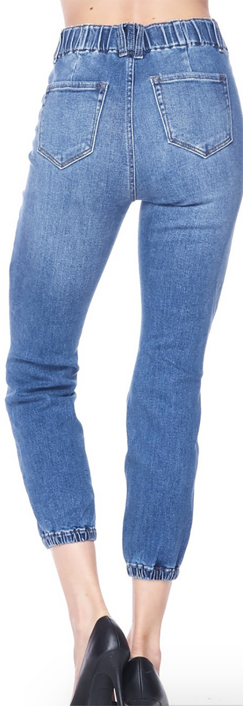 Cute cheap destructed denim jogger in vinage