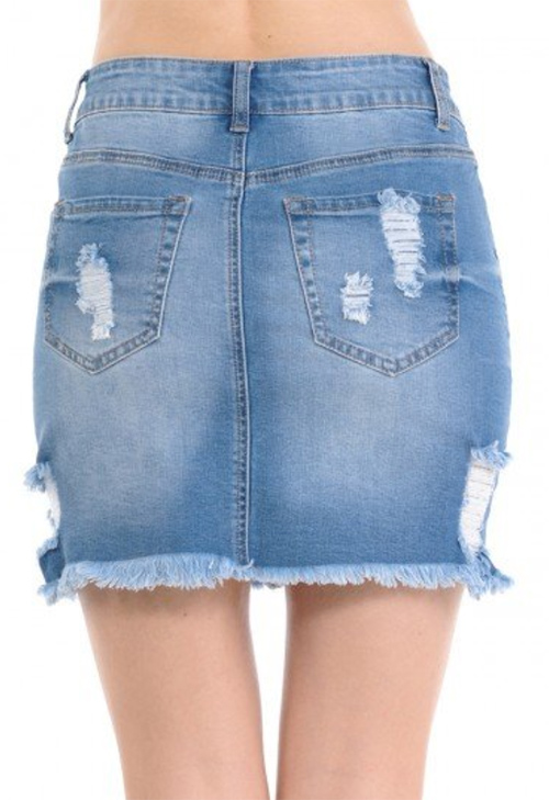 Cute cheap Destructed Denim Skirt