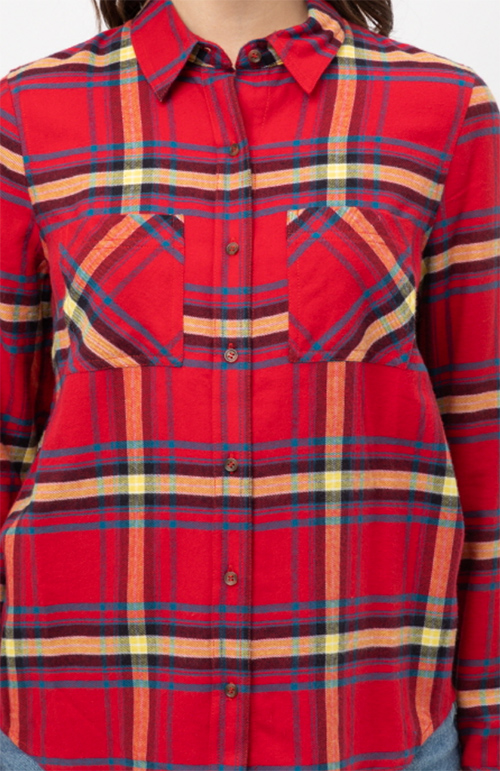 Cute cheap double pocket on the front basic plaid shirt