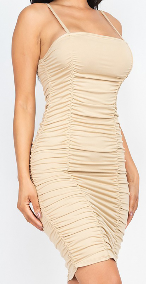 Cute cheap double ruched front and ruched back detail mini dress