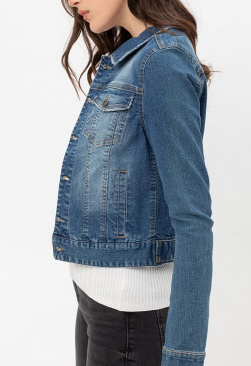 Cute cheap dstressed button up stretchy cotton denim jacket