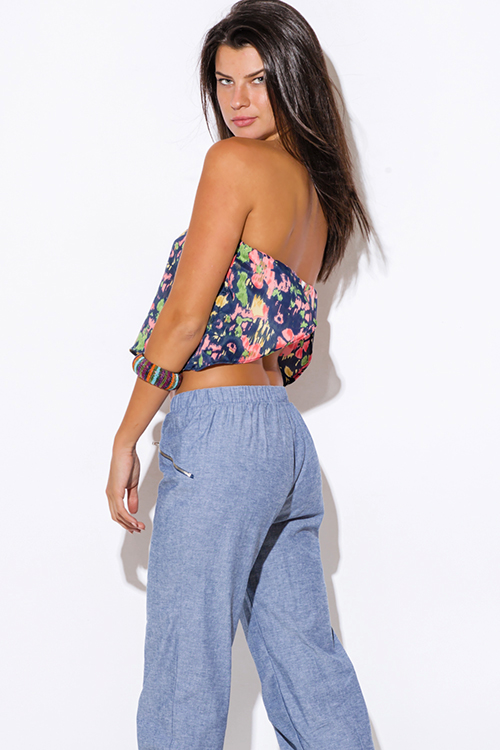 Cute cheap pastel floral print navy blue strapless backless tube crop top