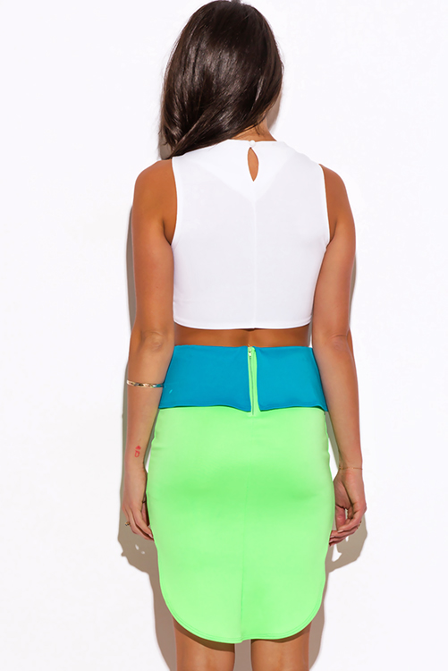 Cute cheap neon green color block high low peplum scuba pencil mini skirt