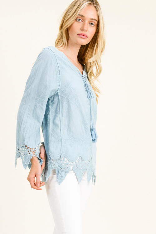 Cute cheap Dusty blue cotton embroidered laceup front scallop crochet lace hem boho blouse top