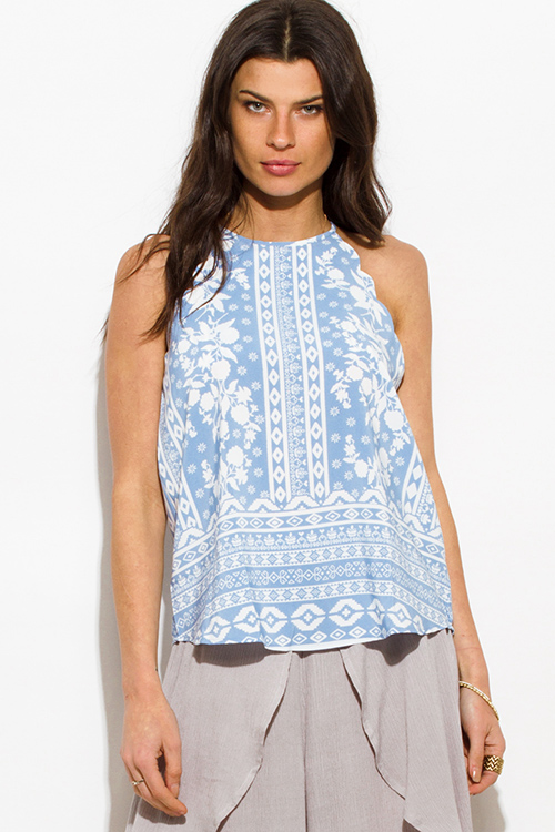 Cute cheap dusty blue floral abstract print scallop trim halter racer back boho tank top