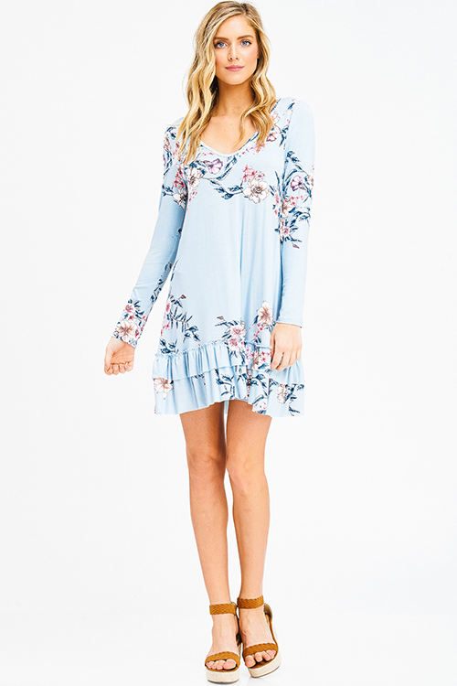 Cute cheap dusty blue floral print long sleeve ruffle hem cut out back boho party mini dress