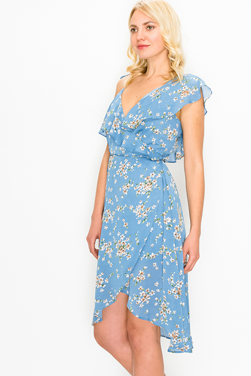 Cute cheap Dusty blue floral print sleeveless ruffled boho mini wrap dress