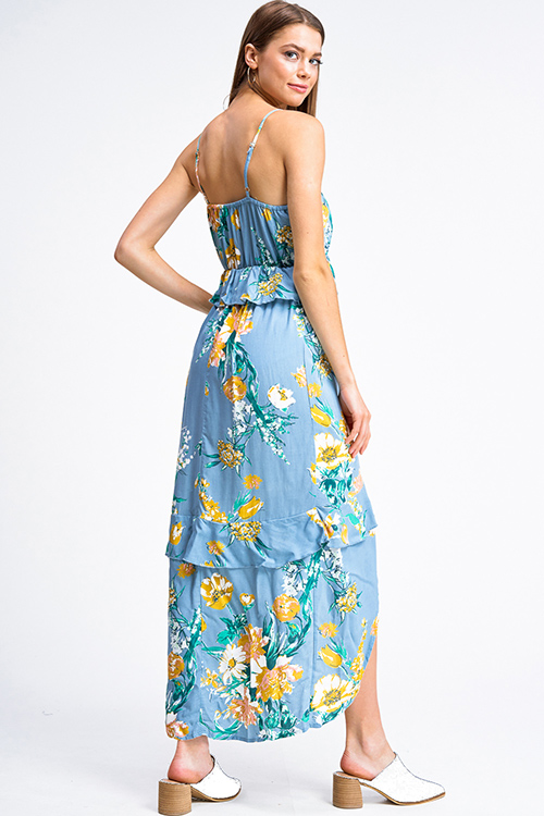 Cute cheap Dusty blue floral print sleeveless v neck ruffle tiered front slit boho maxi sun dress