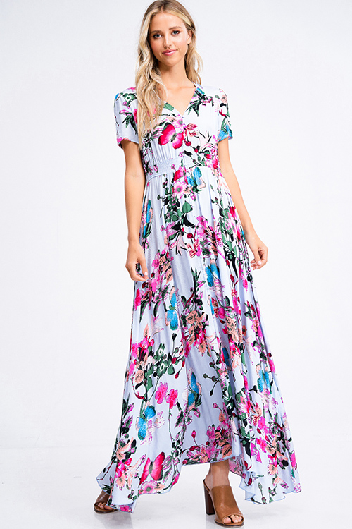 Cute cheap Dusty blue floral print v neck short sleeve button up boho maxi sun dress
