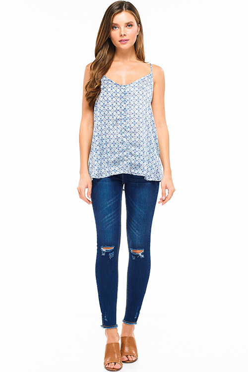 Cute cheap Dusty blue satin abstract ethnic print button trim sheer lace racer back cami tank top