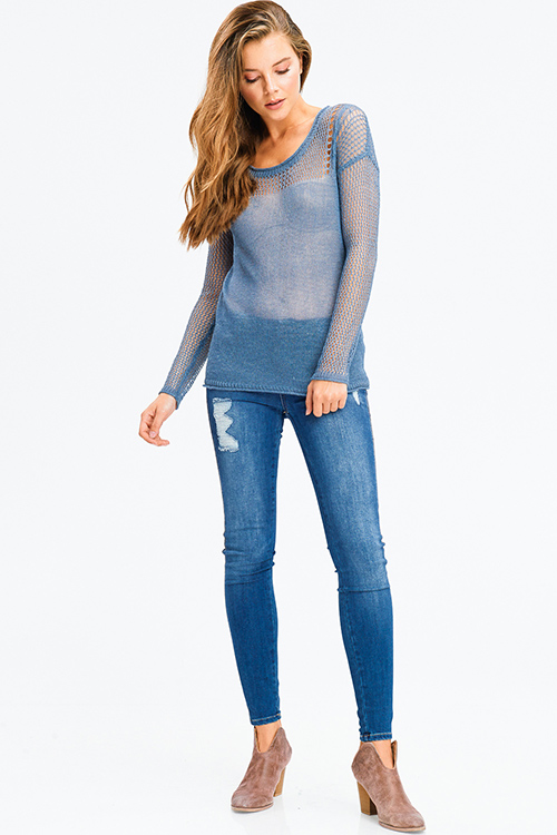 Cute cheap dusty blue linen semi sheer long sleeve round neck boho crochet knit sweater top
