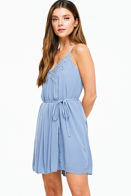 Cute cheap Dusty blue sleeveless embellished beaded tie waist cross back boho party mini dress