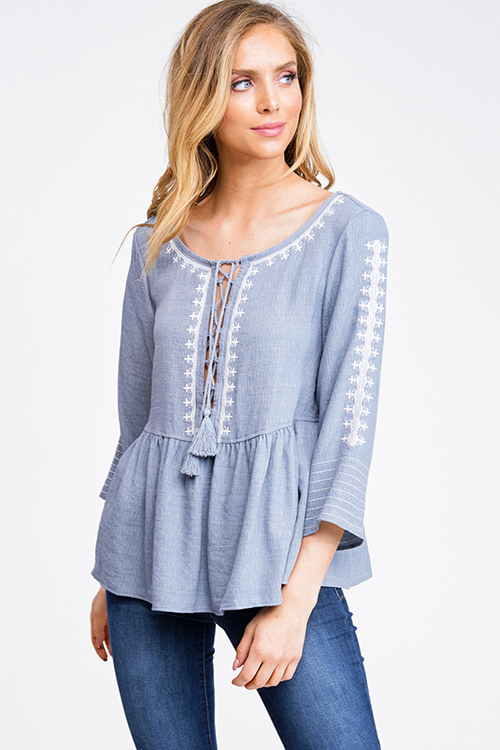 Cute cheap Dusty blue wide quarter sleeve embroidered laceup boho peplum peasant blouse top