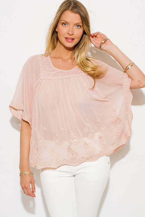 Cute cheap dusty blush pink sheer chiffon embroidered butterfly sleeve boho blouse top