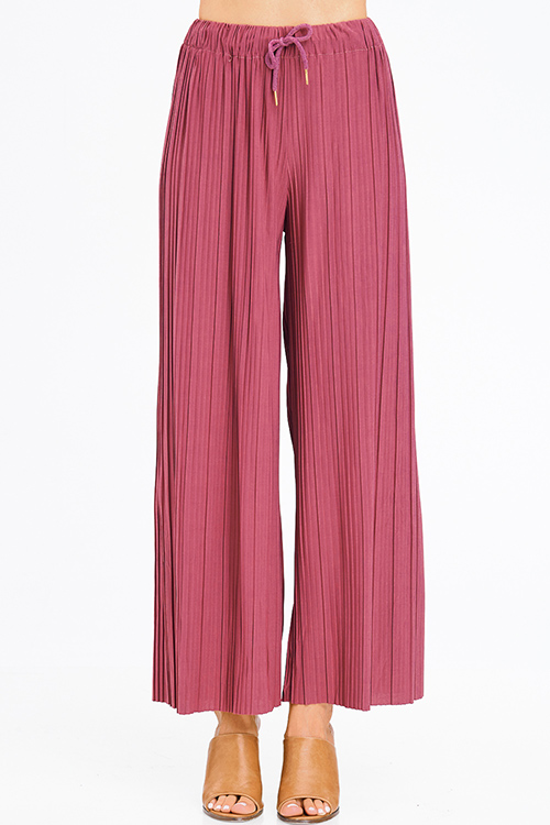 Cute cheap dusty maroon pink pleated drawstring high waisted wide leg boho culotte pants