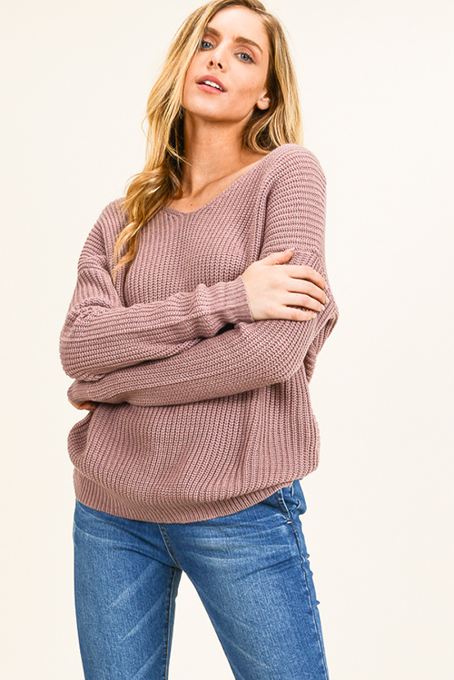 Cute cheap Dusty mauve knit long sleeve v neck twist knotted back boho sweater top