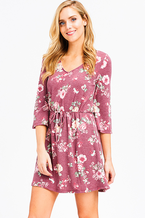 Cute cheap dusty mauve pink floral print v neck quarter bell sleeve a line boho mini dress