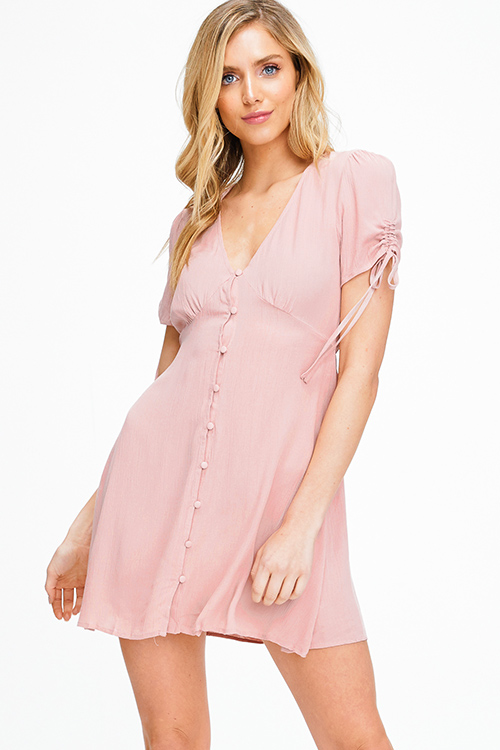 Cute cheap Dusty mauve pink ruched short sleeve v neck button up boho a line skater mini dress