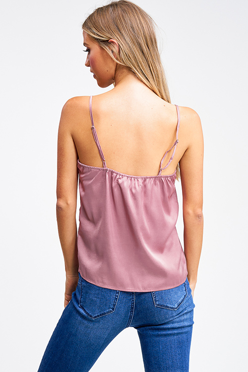Cute cheap Dusty mauve pink satin lace trim boho party cami tank top