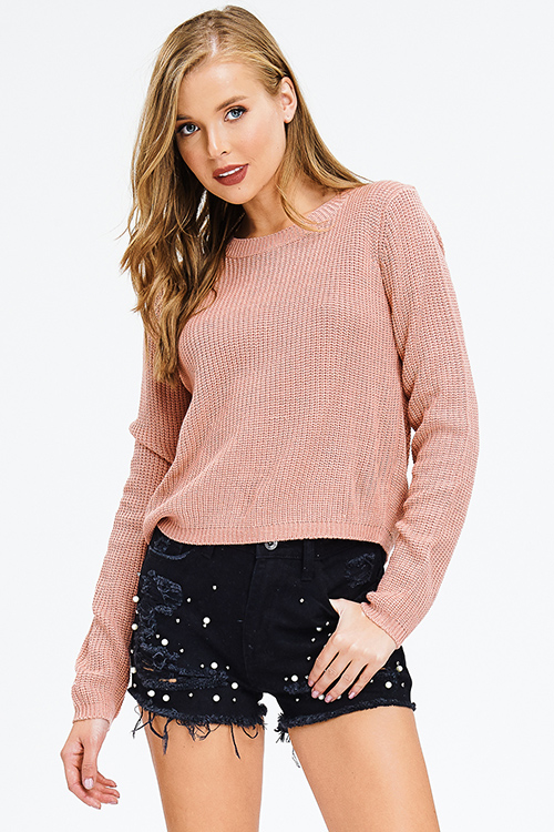Cute cheap dusty mauve pink waffle knit long sleeve laceup back boho sweater top