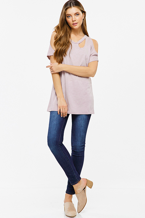 Cute cheap Dusty mauve purple cut out cold shoulder short sleeve tee shirt top