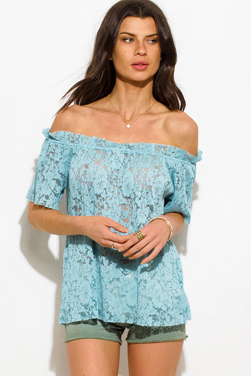 Cute cheap dusty mint blue sheer see through lace off shoulder boho blouse top