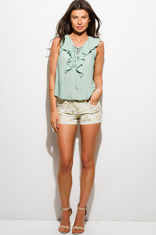 Cute cheap dusty mint green laceup ruffle neck sleeveless boho blouse tank top