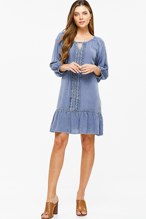 Cute cheap Dusty navy blue crochet lace quarter sleeve tie back ruffle hem boho peasant mini dress
