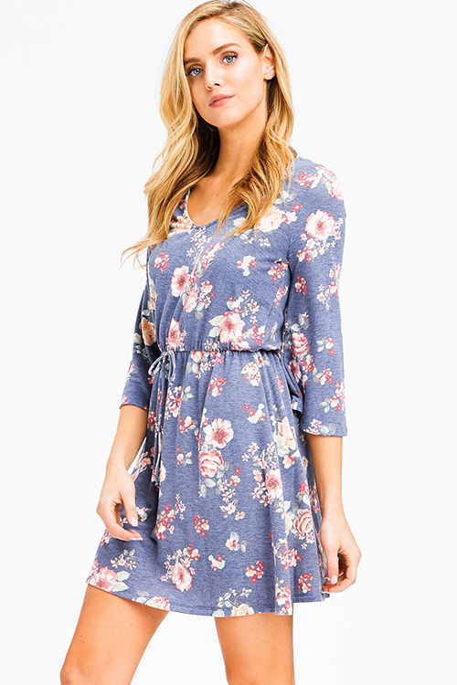 Cute cheap dusty navy blue floral print v neck quarter bell sleeve a line boho mini dress