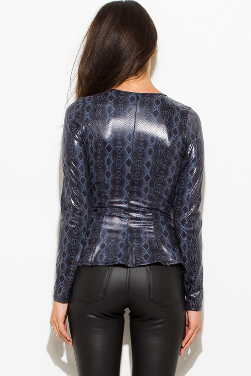 Cute cheap dusty navy blue python snake animal print faux leather long sleeve zip up peplum jacket top