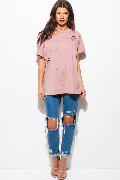 Cute cheap dusty pink cut out destroyed distressed ripped short sleeve tee shirt top
