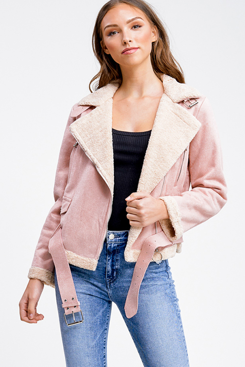 Cute cheap Dusty pink faux suede sherpa fleece lined zip up belted fitted moto jacket