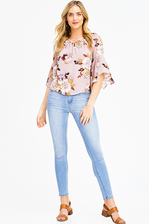 Cute cheap dusty pink floral print off shoulder trumpet bell sleeve boho blouse top