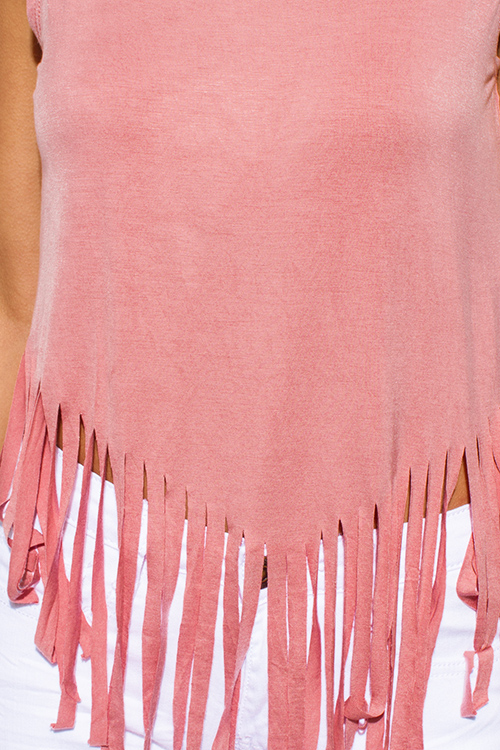 Cute cheap dusty pink jersey knit sleeveless fringe asymmetrical hem boho tank top