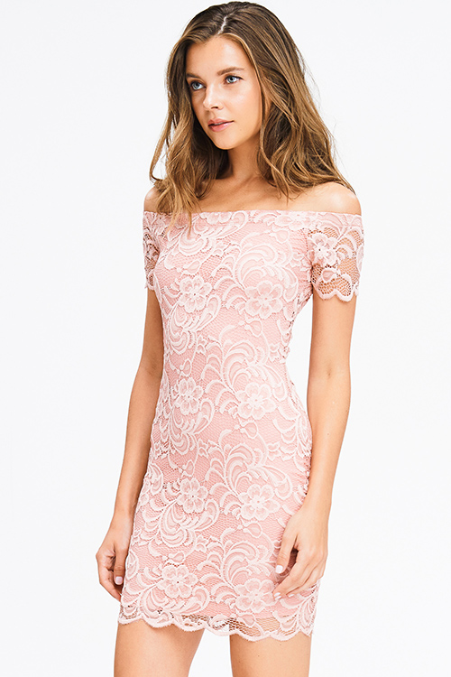 Cute cheap dusty pink lace off shoulder bodycon fitted club mini dress