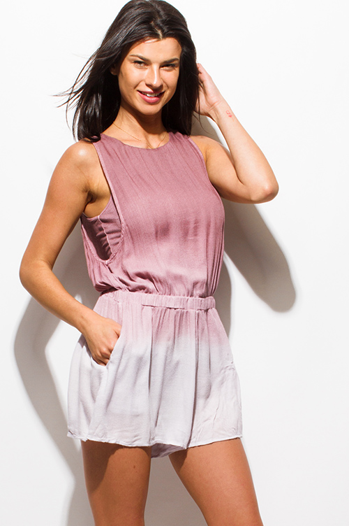 Cute cheap dusty pink ombre tie dye sleeveless pocketed cut out back boho resort bomper playsuit jumpsuit