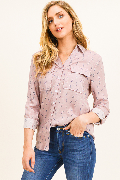 Cute cheap Dusty pink print long sleeve front pocket button up blouse top