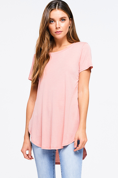 Cute cheap Dusty pink round neck short sleeve side slit curved hem tee shirt tunic top