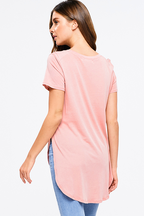 Cute cheap Plus size dusty pink round neck short sleeve side slit curved hem tee shirt tunic top