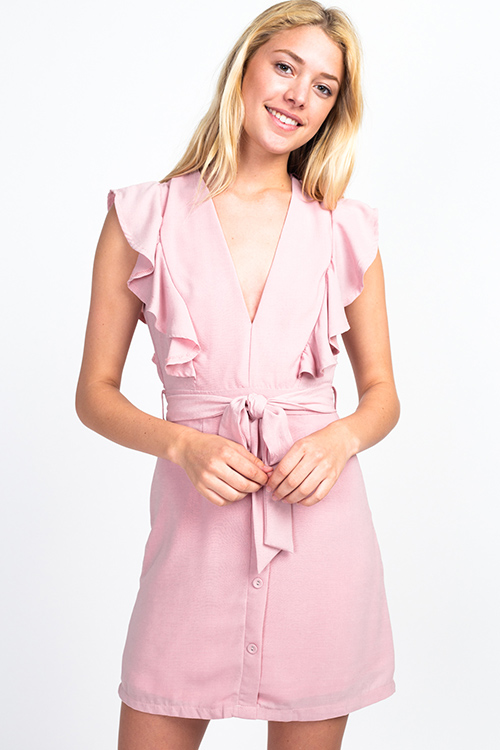 Cute cheap Dusty pink v neck ruffled sleeveless belted button trim a line boho party mini dress