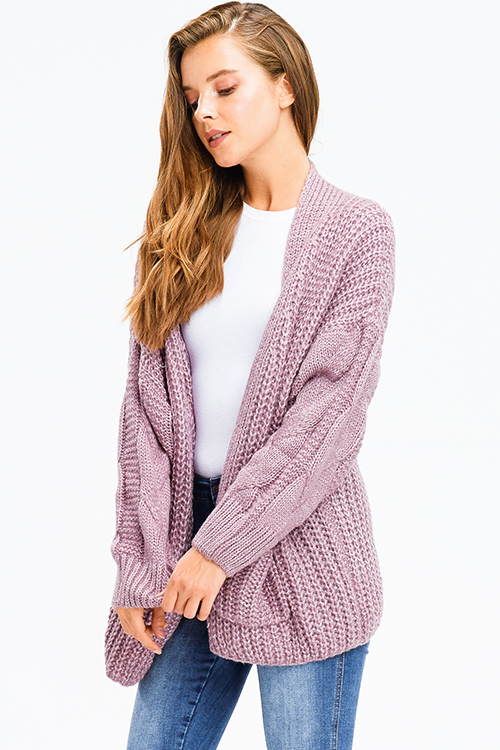 Cute cheap dusty purple chunky cable knit open front pocketed boho oversized sweater cardigan