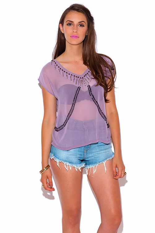 Cute cheap dusty purple semi sheer chiffon bejeweled party top