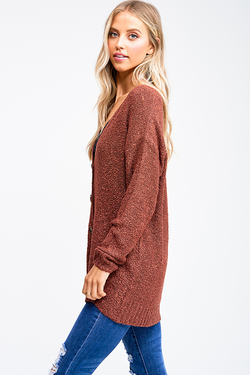 Cute cheap Dusty rust red boucle sweater knit long sleeve button up boho cardigan top