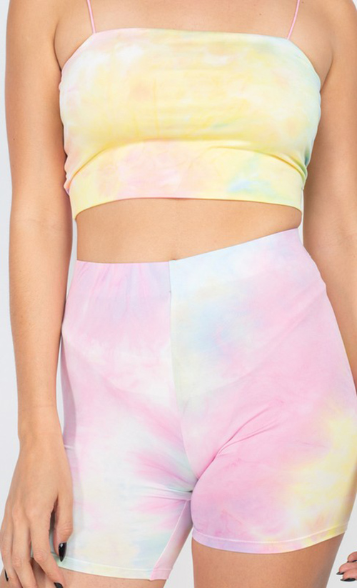 Cute cheap elastic tie-dye tank top & shorts set
