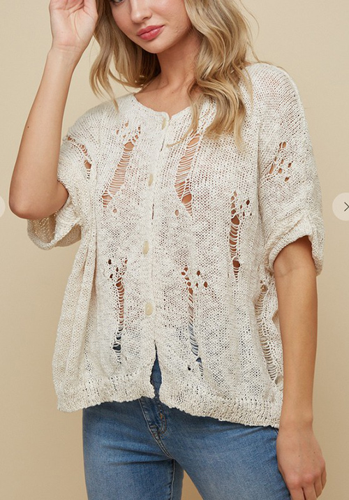 Cute cheap elbow sleeve distressed yarn sweater